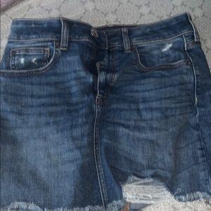 american eagle blue jean skirt distressed